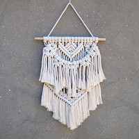 Small wall decor Small macrame wall hanging Bohemian tapestry White home decor Birthday gift for wife Rope wall hanging tapestry Wallhanging