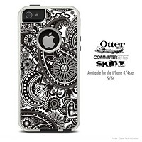 The Black & White Paisley Pattern Skin For The iPhone 4-4s or 5-5s Otterbox Commuter Case