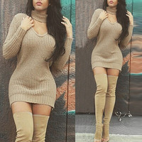 2017 Winter Autumn Women Sweaters Dress Long Sleeve V Neck Knitted Pullovers Casual Sexy Ladies Solid Package Hip Sweater