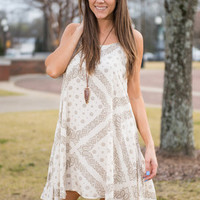 Feeling The Love Dress, Ivory-Taupe