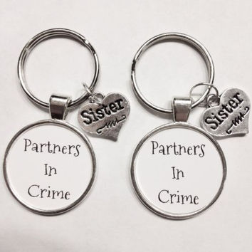 Infinity Partners In Crime Sisters Best Friends Keychain Set