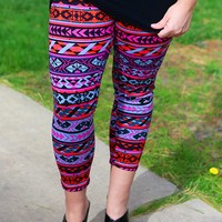 Sunset Over The Valley Patterned Leggings - Curvy