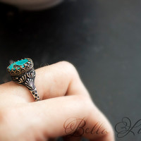 Cheyenne, Turquoise Sterling & Brass Ring Size 11