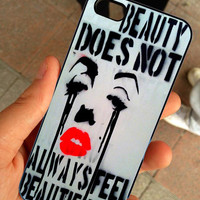 Marilyn Monroe Beauty Does Not Quotes - Hard Case Print - iPhone 4 / 4s or iPhone 5 Case - Black or White Case