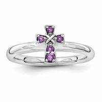 Sterling Silver Stackable Expressions Rhodium Amethyst Cross Ring