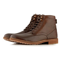 Brown Leather Lace Up Boots - Boots - Shoes and Accessories - TOPMAN USA