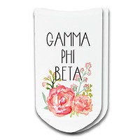 Gamma Phi Beta Watercolor Floral No-Show Socks