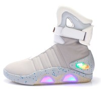 """Men basketball shoes Led light shoes men sneakers High quality """"Back to Future"""" led glowing shoes for men COsplay high top shoes"""