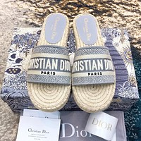 Bunchsun DIOR Fashionable Women Jacquard Embroidery Slippers Sandals Shoes
