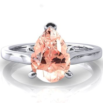 Darci Pear Champagne Sapphire 5 Prong Cathedral Solitaire Engagement Ring