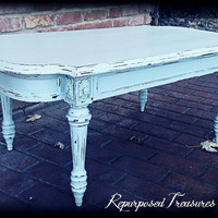 shabby chic coffee table! Pale blue coffee table, distressed coffee table, rustic coffee table, coffee table! Chippy coffee table