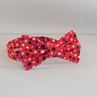 Boy's Red, White, Gray and Black Polka Dot Bow Tie With Adjustable Hook and Loop Closure