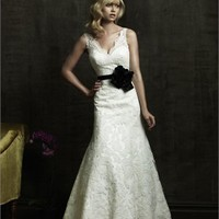 Graceful Deep V- neck Off-the-shoulder Lace Style Small Train Wedding Dress WD1636