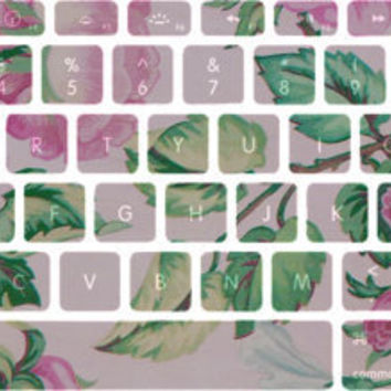Pink and Green Flower Pattern Macbook Keyboard Stickers