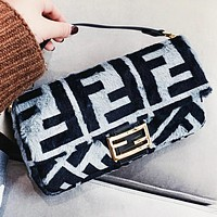 Fendi Fashion New More Letter Fur Shoulder Bag Crossbody Bag Handbag Women Gray