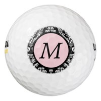 Damask Pink Black Monogram Golf Balls