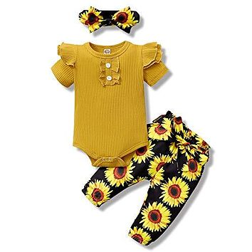 Infant Baby Girl Clothes Ribbed Rompers Top Baby Girls' Clothing Floral Pants Ruffle Baby Clothes Girl Gifts Baby Girl Stuff 3Pieces Yellow 6-12 Month Girl Clothes