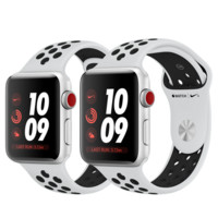 Apple Watch Nike+ GPS + Cellular, 38mm Silver Aluminum Case with Pure Platinum/Black Nike Sport Band