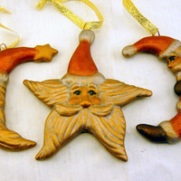 Celestial Santa Ceramic Ornament - Set of Three - Vintage Inspired Metallic