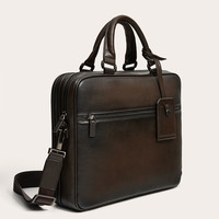 BROWN DOUBLE BRIEFCASE WITH ZIP DETAILS