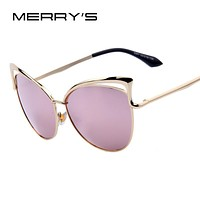 MERRY'S Fashion Women Brand Design Cat Eye Sun glasses Alloy Frame Women Luxury Cat Eye Sun Glasses