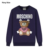 Moschino New fashion letter bear print couple long sleeve top sweater Navy Blue