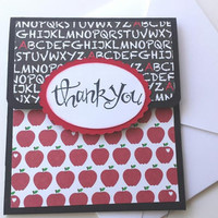 Thank You Teacher Gift Card Holder With Envelope,  End of Year Gift Card Holder, Stampin Up Teacher Gift