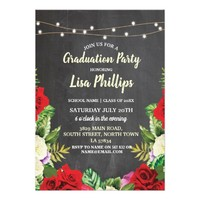 Graduation Party Rustic Red Roses Chalk Invite