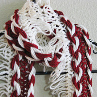 Hairpin Lace Crochet Scarf Scarlet and Cream