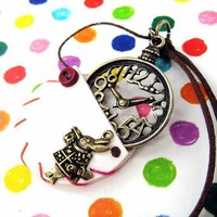Alice in Wonderland Inspired Pocket Watch Pendant Necklace in White