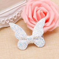 Children Lovely Hair Accessories butterfly Leather Gravel Bow Hairpin