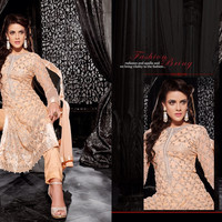 Glamorous Full Sleeves Designer Suit with Exceptional Zari, Resham and Thread Embroidery