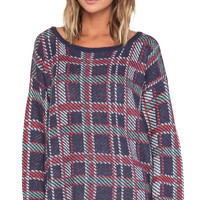 Wildfox Couture All Over Plaid Pullover in Purple