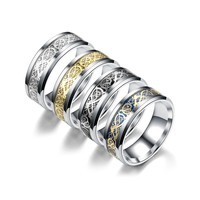 PIXNOR Unique Titanium Steel Ring Celtic Dragon Pattern Wedding Band Rings for Men Jewelry Accessoris - Size 10