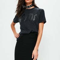Missguided - Black ACDC Snow Wash T Shirt