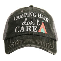 CAMPING HAIR DON'T CARE trucker hat, baseball hat