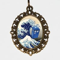 Great Wave Police Box Necklace Oval Pendant