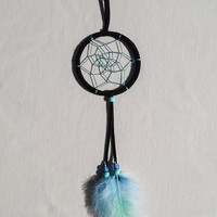 Multicolor dreamcatcher/ Black suede/ Hand dyed feathers/ Rainbow Blue-Green web