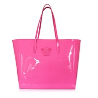 Versace Pink Patent Leather Tote Bag
