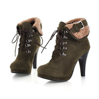 Purfle Buckle Lace Up Ankle Boots High Heels Shoes 9627