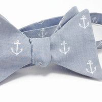 Nautical Grey Anchor Men's  Freestyle / Self by SpeicherTieCompany