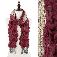 Double Sided Ruched Fringe Scarf: Wine