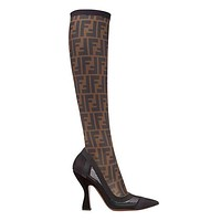 FENDI Trending Women Stylish Black/Coffee Stitching Color Stretch FF Letter Mesh High Heel High Tube Boots I13243-1