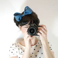 Denim large bow - Hair accessories for women- Adult hair accessories- Denim hair accessories- Large bow on headband - Indie hair accessories