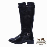 Coach Women Fashion Leather Tube in Boots Low Heels Shoes