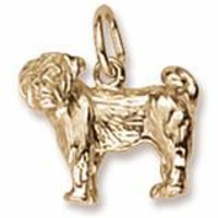 Pug Charm in Yellow Gold Plated