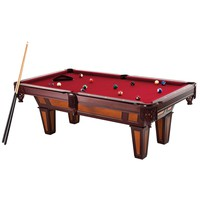 7 Ft Pool Table with Red Burgundy Wool Top & Fringe Drop Pockets