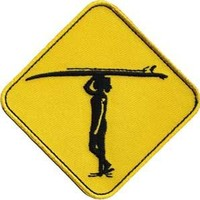 Novelty Iron On Patch - Surfing Surf Crossing Sign with Surfboard Applique