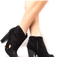 Wyoming Fringe Booties Black PREORDER