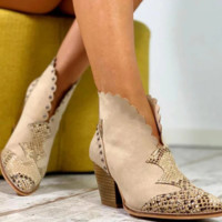 Hot style is a big seller of chunky boots with pointed sequins and low heels
